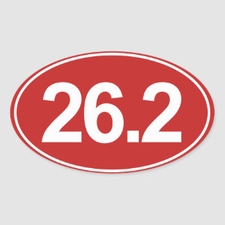 Marathon 26,2 milles d'autocollant ovale (rouge) sticker ovale