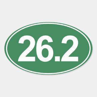 Marathon 26,2 milles d'autocollant ovale (vert) sticker ovale