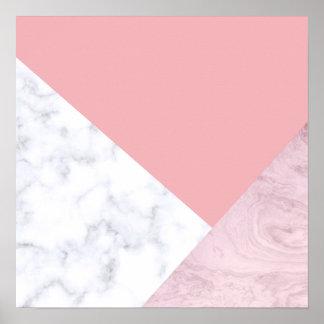 marbre blanc de rose en pastel de poussin élégant poster