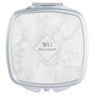 Marbre blanc décoré d'un monogramme professionnel miroirs à maquillage