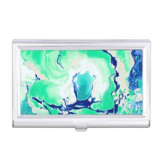 Marbre blanc et bleu vert étuis pour cartes de visite