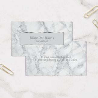 Marbre blanc et gris et conception argentée cartes de visite