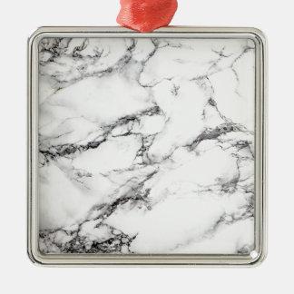 Marbre blanc grisâtre ornement carré argenté