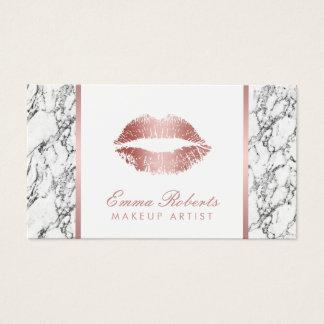 Marbre blanc moderne de lèvres roses d'or de cartes de visite