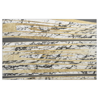 Marbre blanc noir moderne avec des rayures d'or de tissu