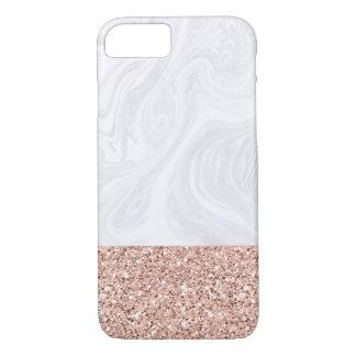 Marbre blanc plongé dans les parties scintillantes coque iPhone 7