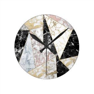 Marbre de luxe blanc de faux de noir rose élégant horloge ronde