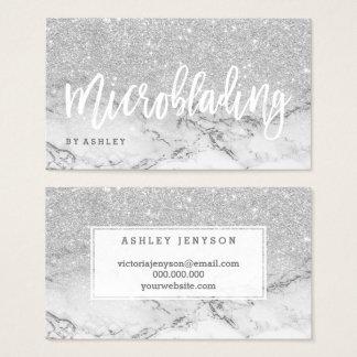 Marbre de scintillement d'argent de typographie de cartes de visite