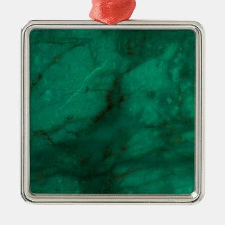 Marbre de vert forêt ornement carré argenté
