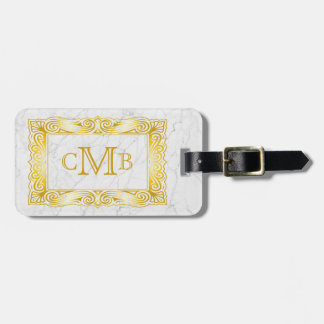 Marbre élégant de blanc de cadre de monogramme étiquette à bagage