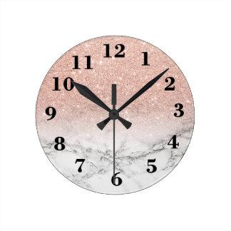 Marbre élégant de blanc d'ombre de scintillement horloge ronde