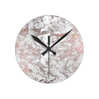 Marbre élégant d'or rose blanc moderne élégant de horloge ronde