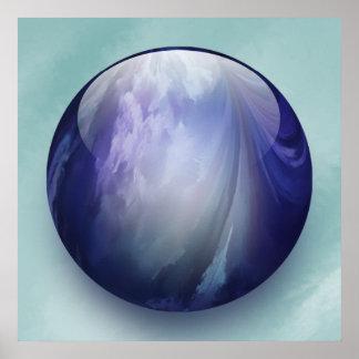 Marbre en verre brillant bleu affiches