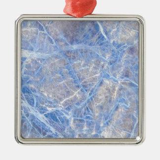 Marbre gris veiné bleu-clair ornement carré argenté