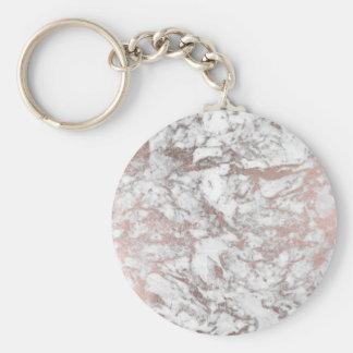 Marbre moderne d'or rose blanc élégant de faux porte-clé rond