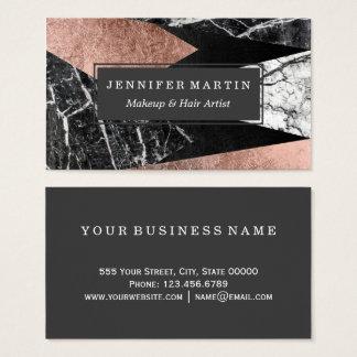 Marbre moderne élégant, or rose, et triangle noire cartes de visite