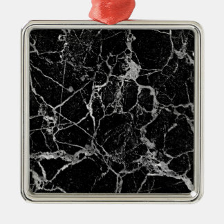 Marbre noir avec le veinage blanc ornement carré argenté
