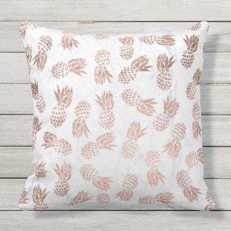 Marbre rose de blanc d'ananas d'or de faux moderne coussins carrés