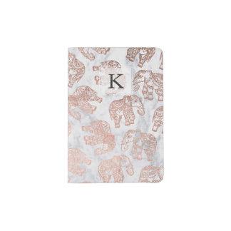 Marbre rose de blanc d'éléphants de Paisley d'or Protège-passeport