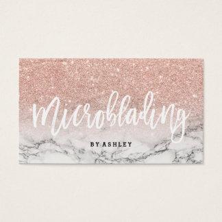 Marbre rose de scintillement d'or de typographie cartes de visite