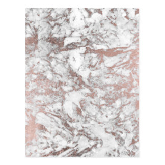 Marbre rose d'or de faux blanc élégant moderne cartes postales