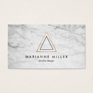 Marbre rose énervé de blanc de logo de triangle cartes de visite
