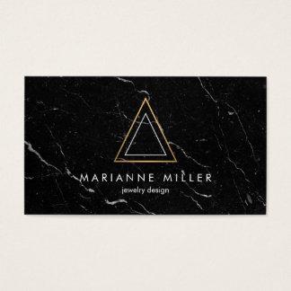 Marbre rose énervé de noir de logo de triangle cartes de visite