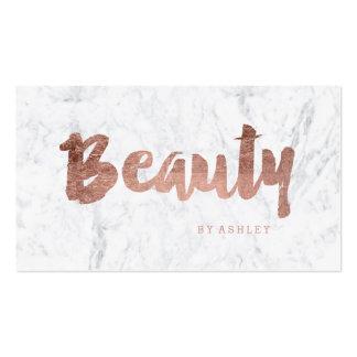 Marbre rose moderne de typographie d'or de beauté carte de visite standard
