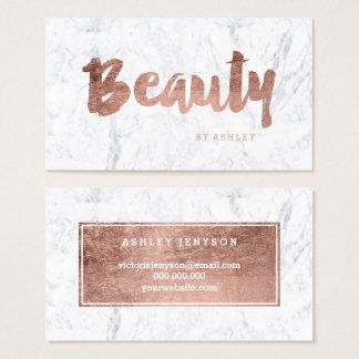 Marbre rose moderne de typographie d'or de beauté cartes de visite