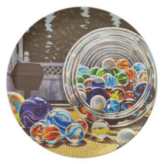 Marbres en verre assiettes en mélamine