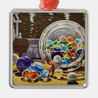 Marbres en verre ornement carré argenté