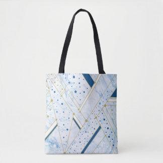 Marbrure et géométrie d'or fourre-tout de bleu de sac