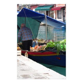 Marchand de légumes de flottement à Venise Papier À Lettre Customisé