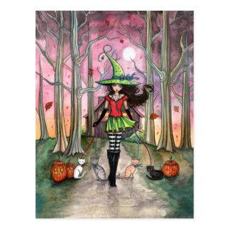 Marchant la carte postale de sorcière de Halloween