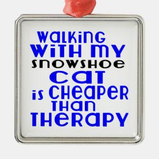 Marche avec mes conceptions de chat de raquette ornement carré argenté
