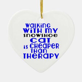 Marche avec mes conceptions de chat de raquette ornement cœur en céramique