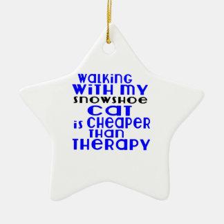 Marche avec mes conceptions de chat de raquette ornement étoile en céramique