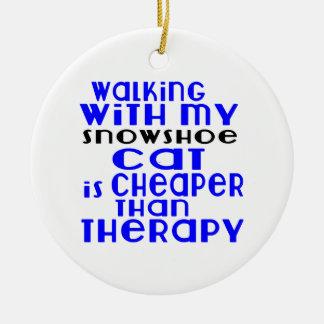Marche avec mes conceptions de chat de raquette ornement rond en céramique