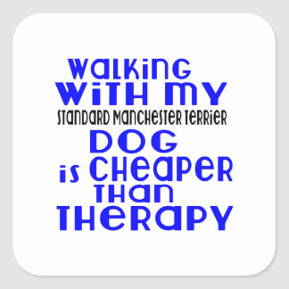 Marche avec mon chien standard De de Manchester Sticker Carré