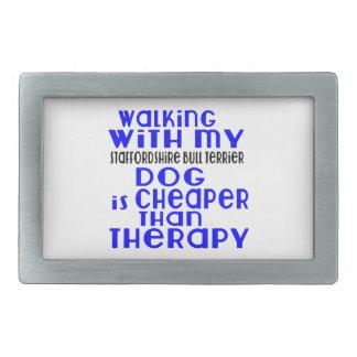 Marche avec mon DES de chien de bull-terrier du Boucles De Ceinture Rectangulaires