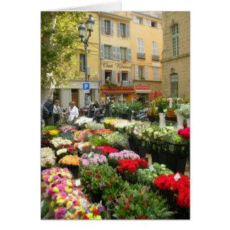 Marché de fleur à Aix-en-Provence, France Carte De Vœux