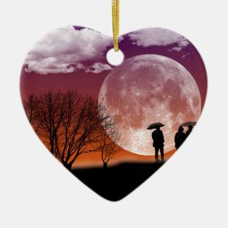 Marche devant l'art numérique de lune ornement cœur en céramique