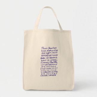 Marché fourre-tout avec des noms de lieu français sac en toile épicerie