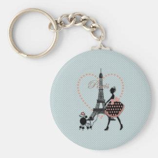 Marche vintage romantique mignonne de silhouette d porte-clé rond