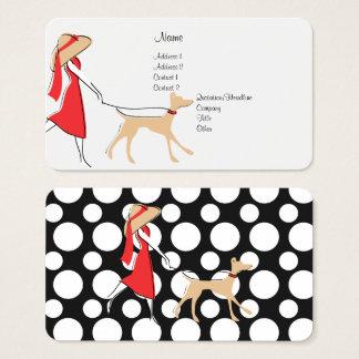 Marcheur élégant de chien cartes de visite