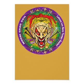 Mardi gras 2011 Joker-V-3 Carton D'invitation 12,7 Cm X 17,78 Cm