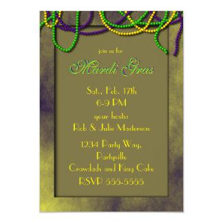Mardi gras Noir de conversation Carton D'invitation 12,7 Cm X 17,78 Cm