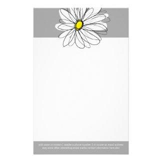 Marguerite à la mode avec le gris et le jaune papier à lettre customisable