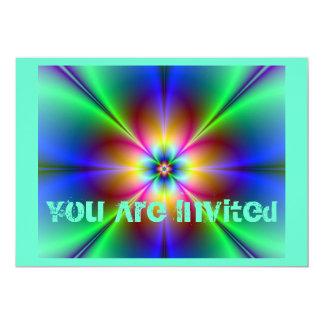 Marguerite au néon colorée carton d'invitation  12,7 cm x 17,78 cm