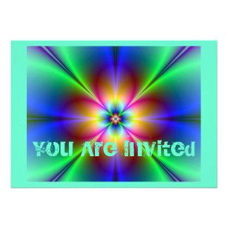 Marguerite au néon colorée invitation personnalisable